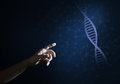 Science medicine and technology concepts as DNA molecule on dark background with connection lines