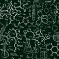 Science old chemistry laboratory seamless pattern. Vintage vector background sketchy style Royalty Free Stock Photo