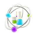 Science and research glossy icon isolated made of sample tubes inside an atomic structure Royalty Free Stock Photo