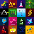 Science research icons set, flat style Royalty Free Stock Photo
