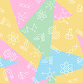 Science seamless pattern. Back to school print. Research outline trendy background.