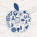 Science symbols in an apple shape. Royalty Free Stock Photo