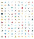 Science and Technology Isolated Vector icons set consist with medical lab, chemistry, plane, mobile, and dna Royalty Free Stock Photo