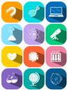 Science and technology symbols on buttons Royalty Free Stock Photo