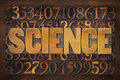 Science word and numbers in wood type Stock Image