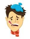 Scienest flat design Cartoon men got sick with thermometer flat vector illustration. coldcharacter illustration.