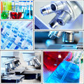 Scientific background collage medical research Stock Photography