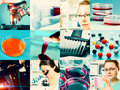 Scientific design elements collage microbiology genetics scientists Stock Photos