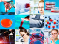 Scientific design elements collage microbiology genetics scientists Stock Images