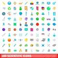 100 scientific icons set, cartoon style