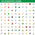 100 scientific icons set, cartoon style