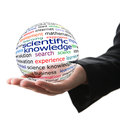 Scientific knowledge transparent ball with inscription in a hand Stock Photo