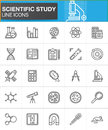 Scientific study line icons set, outline vector symbol collection, linear style pictogram pack. Signs, logo illustration. Royalty Free Stock Photo