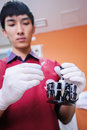 Scientist assistant working at laboratory the blood Stock Images