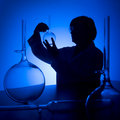 Scientist blue silhouette Royalty Free Stock Photography