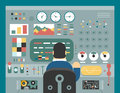 Scientist businessman work in front of control panel analysis production development study flat design concept illustration Stock Photo
