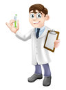 Scientist cartoon an illustration of a holding a test tube and clipboard in a white lab coat performing an experiment Royalty Free Stock Photography