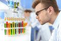 Scientist in eyeglasses looking at test tubes with reagents in lab Royalty Free Stock Photo