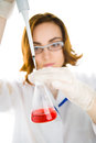 Scientist with flask focus on flask chemist red sample of liquid Royalty Free Stock Image