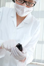 Scientist holds laboratory mouse Royalty Free Stock Image