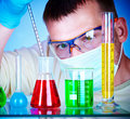 Scientist in laboratory with test tubes Royalty Free Stock Photo
