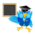 Scientist sparrow on white background teacher beside school board with pick device Stock Photo
