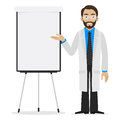 Scientist specifies on flipchart illustration format eps Stock Photos