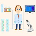 Scientist vector illustration of scientific laboratory equipment Stock Image