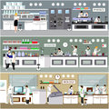 Scientist working in laboratory vector illustration. Science lab interior. Biology, Physics and Chemistry education Royalty Free Stock Photo