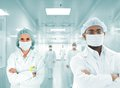 Scientists arabic team at hospital lab, group of doctors Stock Images