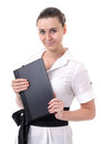 Scientists light college aged woman with a laptop on a white background Stock Image