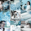 Scientists at work, collage Stock Images