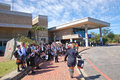Scifest africa thousands of school children flock to south africas national science festival running until march here pupils queue Royalty Free Stock Images