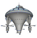 Scifi spaceship d rendered on white background isolated Royalty Free Stock Photos