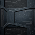 Scifi wall. carbon fiber wall and circuits. metal background Royalty Free Stock Photo