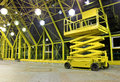 Scissor platform hydraulic electric at indoor place perspective angle shooting Stock Image