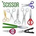Scissor Set Vector. Metal Craft Object. Cut Tool. Paper, Garden, Hairdresser Symbol. Steel Scissor Cutter Equipment. 3D