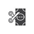Scissors and banknote icon vector