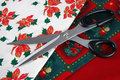 Scissors and Christmas Fabrics Stock Images