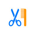 Scissors and comb icon vector, filled flat sign, solid colorful pictogram isolated on white.