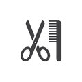 Scissors and comb icon vector, filled flat sign, solid pictogram isolated on white