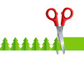 Scissors cut Christmas tree Royalty Free Stock Photo