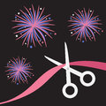 Scissors cut the ribbon grand opening celebration business beginnings event launch startup black background with fireworks flat Stock Photo