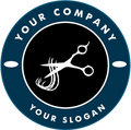 Scissors Cutting Hair Strand, Hair Solon Logo Royalty Free Stock Image
