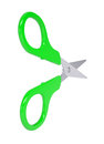Scissors with green handles isolated render on a white background Royalty Free Stock Photos