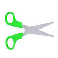 Scissors with green handles isolated render on a white background Stock Photos