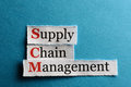 Scm abbreviation supply chain management acronym on blue paper Stock Image