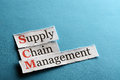 Scm abbreviation supply chain management acronym on blue paper Royalty Free Stock Image