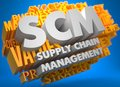 Scm business concept supply chain management the words in white color on cloud of yellow words on blue background Royalty Free Stock Images