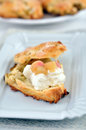 Scones with clotted cream and rhubarb home made Royalty Free Stock Photos